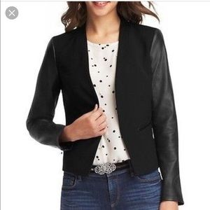 NWT Loft Faux Leather Sleeves Black Blazer jacket